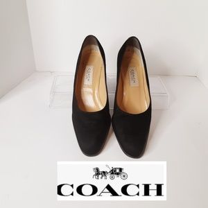Coach Size 8 and 1/2 Black Suede Pumps W/3in Heel